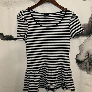 Forever 22 Black Stripe Short Sleeve Peplum Top
